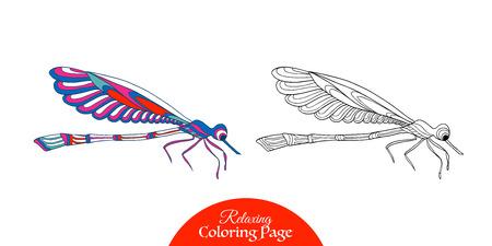 dessin au trait: papillon décoratif. livre à colorier pour les adultes et les enfants plus âgés. Coloriage avec un échantillon de couleur. Dessin au trait. Vector illustration.
