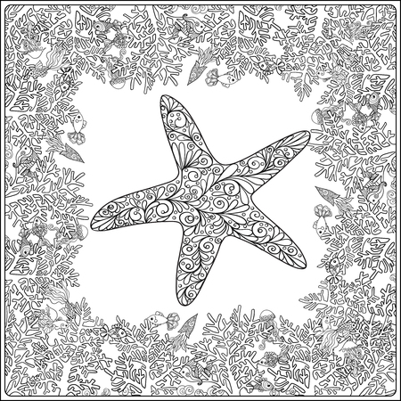 adult coloring page with corals and sea shells. Outline drawing. Vector illustration.