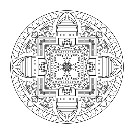 Tibet ethnic mandalas and elements. Outline drawing. Vector illustration. Coloring book for adult and older children. Coloring page. Stock Illustratie
