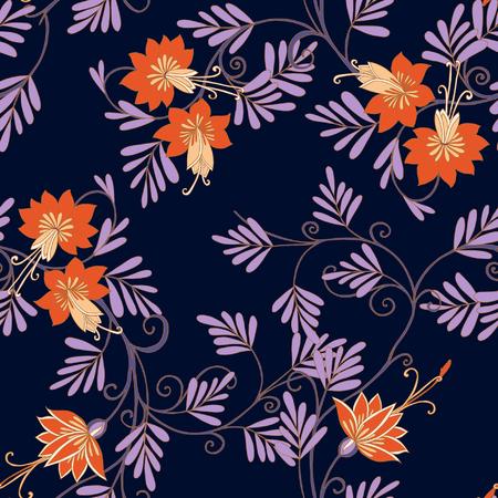 middle ages: Seamless middle ages floral vintage pattern. Vector illustration.