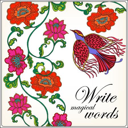 en las flores, los pájaros. Bueno para la tarjeta de felicitación con el espacio para el texto. ? Un ser utilizado como una impresión en camisetas y bolsas. ilustración vectorial de color.