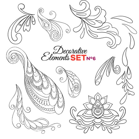 floral ornaments: Set of Ornamental Boho Style Elements. Vector illustration. Tattoo template. Trendy hand drawn tribal symbol collection. Hippie design elements.