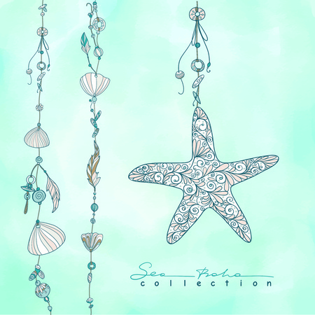 Sea boho collection. Cards in boho style. Sea shells on rope and sea shell. Vector illustration.