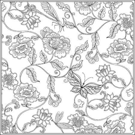 Motivo floreale vintage Disegno di contorno Libro da colorare per adulti e bambini più grandi in stile vintage. Pagina da colorare Illustrazione vettoriale