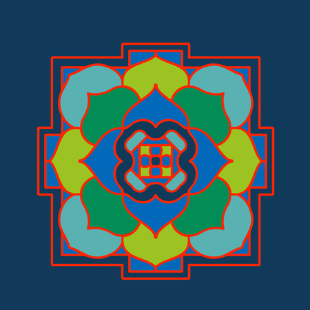 mendi: Tibet ethnic mandalas and elements. Vector illustration.