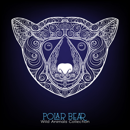Ethnic patterned ornate hand drawn head of polar bear. Sketch for poster, print or t-shirt.