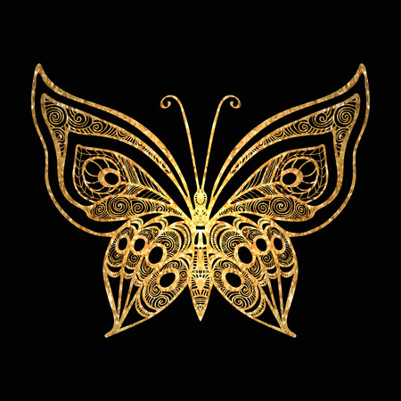 Decorative gold butterfly on black background. Vector illustration. Illustration