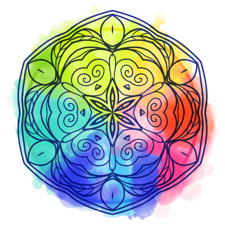 tantra: Mandala over colorful watercolor. Beautiful vintage round pattern. Hand drawn abstract background. Decorative isolated. Invitation, t-shirt print, wedding card. Tattoo element.
