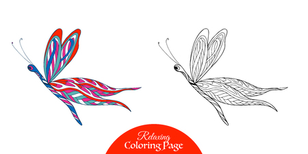 vector sample: Decorative butterfly. Coloring book for adult and older children. Coloring page with colored sample. Outline drawing. Vector illustration. Illustration