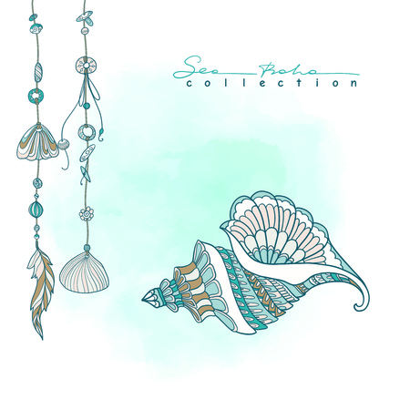 etnic: Sea boho collection. Cards in boho style. Sea shells on rope and sea shell. Vector illustration.