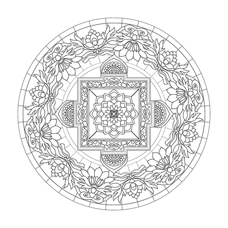 tibet: Tibet ethnic mandalas and elements. Outline drawing. Vector illustration. Coloring book for adult and older children. Coloring page. Illustration