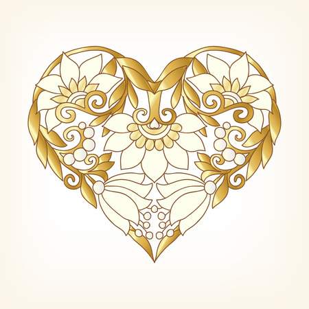 Gold Love Heart on whita background. Vector illustration. In art deco style, art nouveau style.