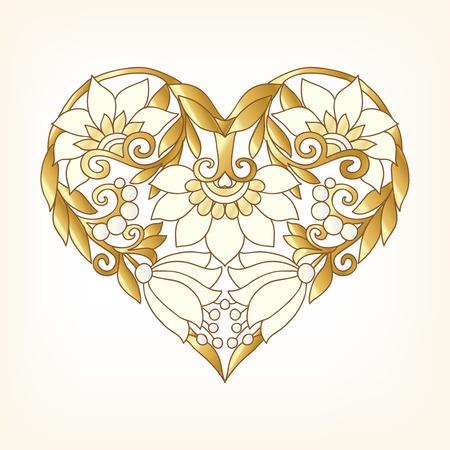 Oro Amore Cuore su sfondo separava. Illustrazione vettoriale. In stile art deco, stile liberty. Archivio Fotografico - 57545540