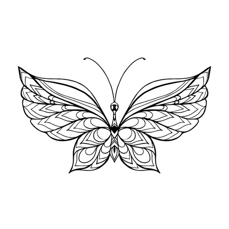 decorative butterfly coloring book for adult and older children coloring page outline drawing - Butterfly Coloring Book