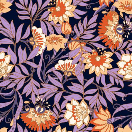 シームレスな中世のビンテージ花柄。ベクトルの図。  イラスト・ベクター素材