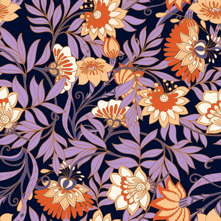 Seamless middle ages floral vintage pattern. Vector illustration.