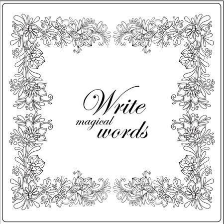 Libro de colorante para los adultos y niños mayores. Dibujo para colorear con el marco decorativo floral y el espacio para el texto. dibujado a mano Esquema. Ilustración del vector.