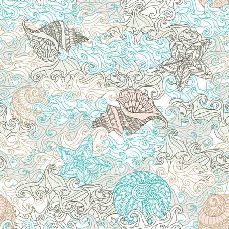 Sea seamless pattern with sea shells. Vector illustration.