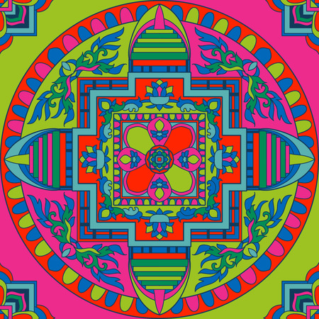 tibet: Seamless pattern with etchnic Tibet mandalas and elements. Vector illustration. Illustration