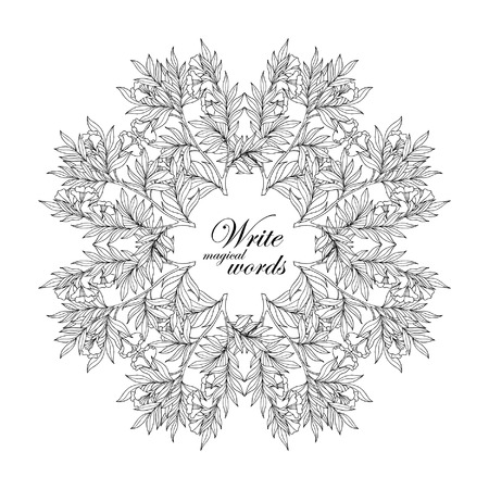 superscription: Decorative vintage flowers frame, border with space for any text.  Coloring book for adult and older children. Coloring page. Vector illustration.