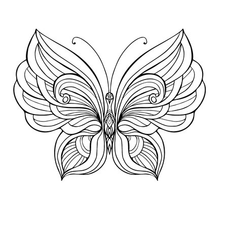 Decorative Butterfly. Coloring Book For Adult And Older Children ...