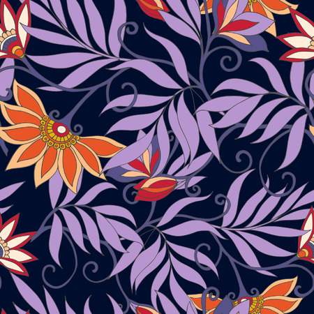 morris: Seamless middle eges  floral vintage pattern. Vector illustration. Illustration