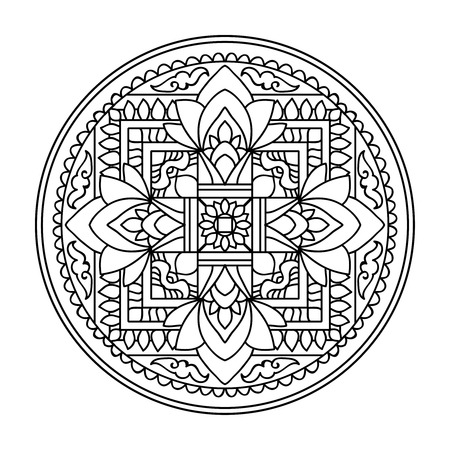 Tibet ethnic mandalas and elements. Outline drawing. Vector illustration. Coloring book for adult and older children. Coloring page. Vectores