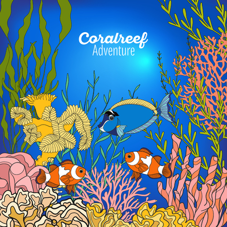 deep water: Underwater world coral reef. Banner with space for text. Corals, fish and seaweeds. Colored vector illustration. Illustration