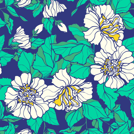 Hibiscus. Floral seamless pattern.  Vector illustration. Çizim