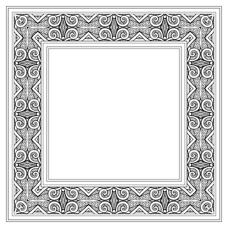 tibet: Tibet eihnic pattern frame. Outline drawing. Vector illustration.