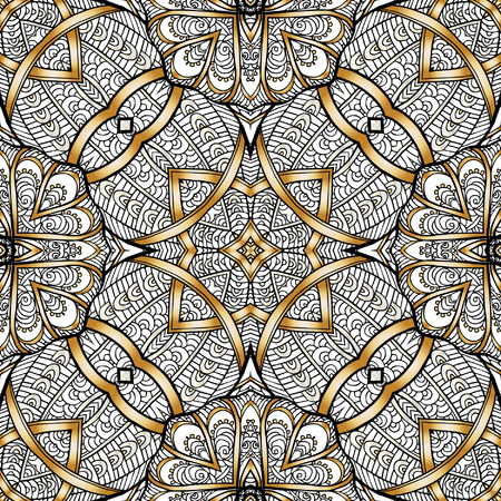 Decorative Seamless Pattern In Gold Color In Art Deco Style