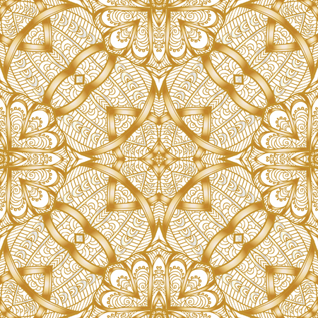 Decorative seamless pattern in gold color. In art deco style, art nouveau style,