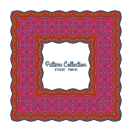 superscription: Colorful decorative frame with ethnic tibet pattern with space for text. Good for greeting card, banner, invitation. Vector illustration.