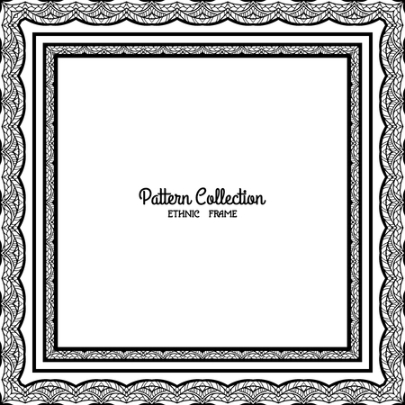 tibet: Outline decorative frame with ethnic tibet pattern with space for text. Good for Coloring book for adult and older children. Coloring page. Vector illustration.