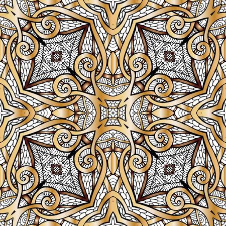 Modelo inconsútil decorativo en color oro. En estilo art deco, estilo art nouveau,