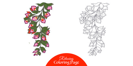vector sample: Outline decorative branch with flower in vintage style.  Coloring book for adult and older children. Coloring page with sample. Vector illustration.