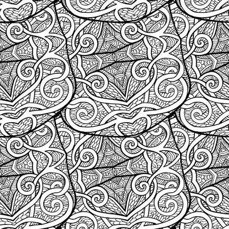 tibet: Seamless tibet eihnic pattern. Outline drawing. Vector illustration.