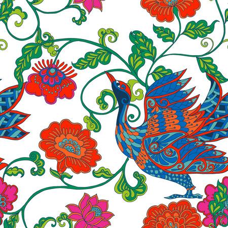 Patrón sin fisuras con flores y pájaros del vintage decorativos. Ilustración del vector. Ilustración de vector
