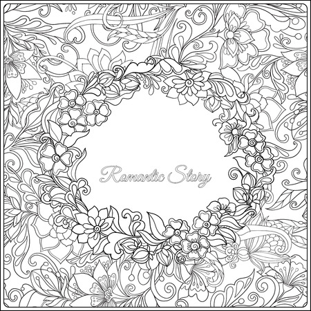 Adult coloring page witf floral pattern and frame for text. Outline drawing. Vector illustration. Illustration