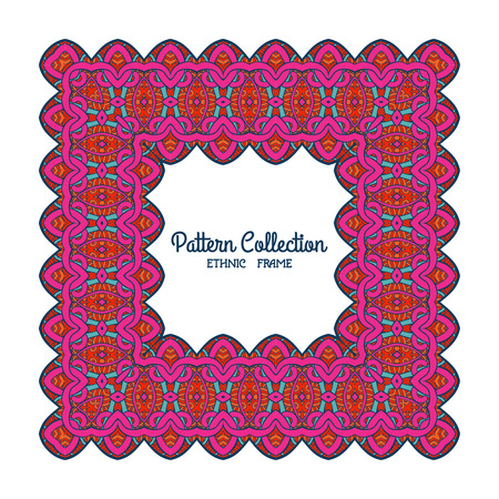 tibet: Colorful decorative frame with ethnic tibet pattern with space for text. Good for greeting card, banner, invitation. Vector illustration.