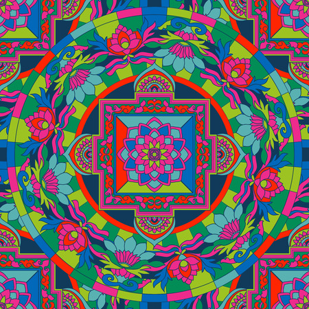 tibet: Seamless pattern with etchnic Tibet mandalas and elements. Vector illustration. Stock Photo