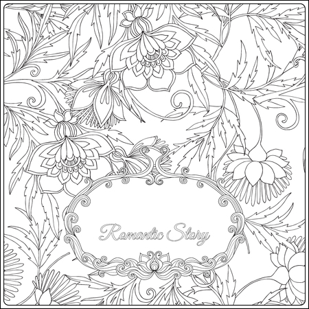 Adult coloring page witf floral pattern and frame for text. Outline drawing. Vector illustration. Stock Photo