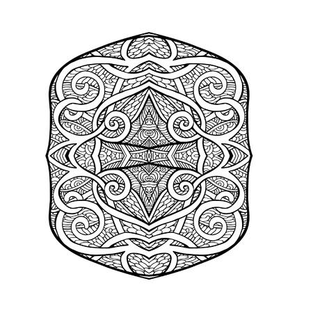 tibet: Tibet eihnic pattern element. Outline drawing. Vector illustration.