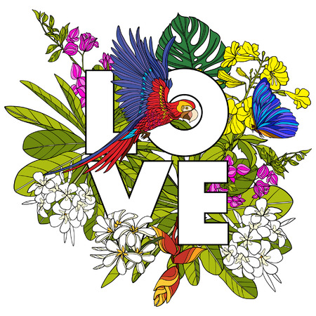 Card with word love and tropical birds and plants. Vector illustration.