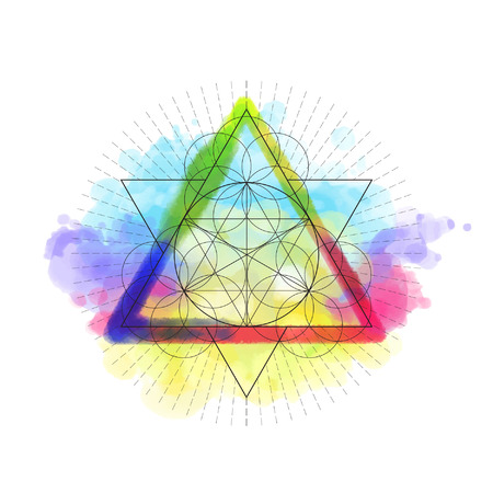 Sacred geametry symbol on rainbow watercolor background. Vector illustration. Illustration