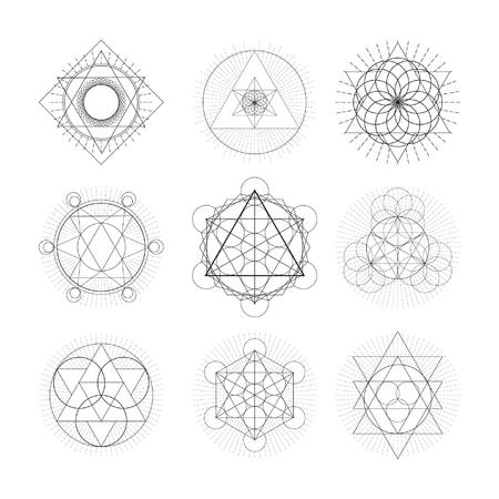 estrella de la vida: set simbolo geametry sagrado. Ilustración del vector.