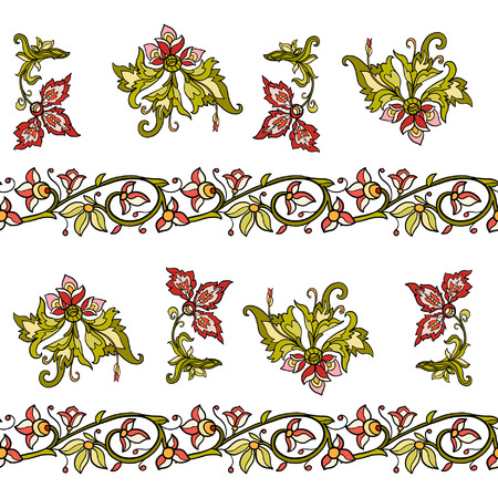 middle ages: Floral seamless pattern in middle ages style Colored on white background Illustration