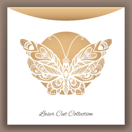 lasercutting: Butterfly. Laser cut envelop. Vector illustration.