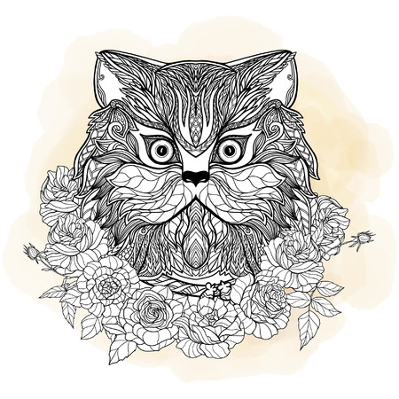 head collar: Decorative cat head with roses collar. Vector illustration. in zentangle style, in zendoodle style. This illustration can be used as a greeting card or as a print on T-shirts and bags.