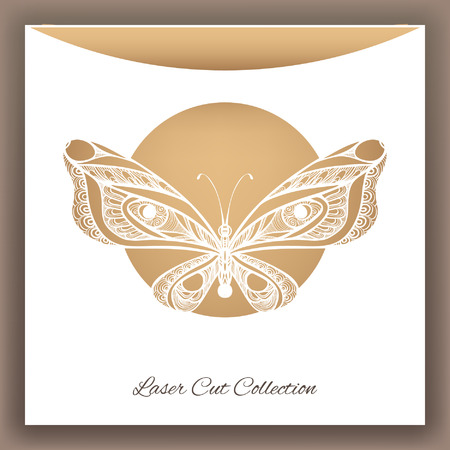 Butterfly. Laser cut envelop. Vector illustration.